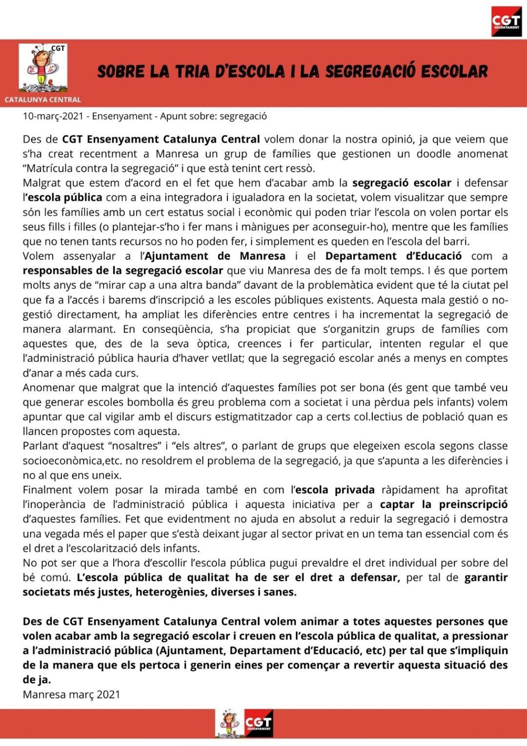 Comunicat CGT Ensenyament Catalunya Central