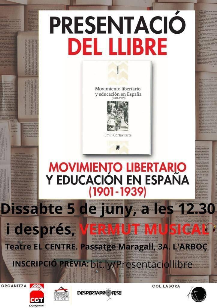 """Presentació del llibre """"Movimiento Libertario y Educación en España (1901-1939)"""""""