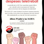 Assemblea i votació despeses teletreball CGT UOC